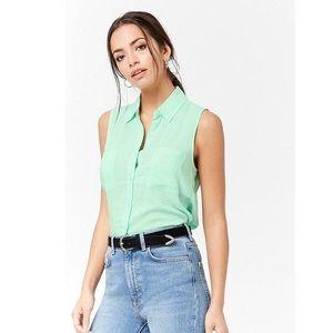 Mint Tie Front Collar Button Down Sleeveless Shirt